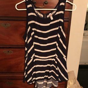 Navy and white striped sleeveless peplum